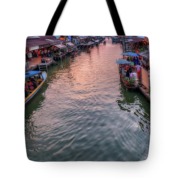 Tote Bag featuring the photograph Floating Market Sunset by Adrian Evans