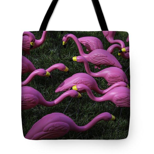 Flock Of  Plastic Flamingos Tote Bag