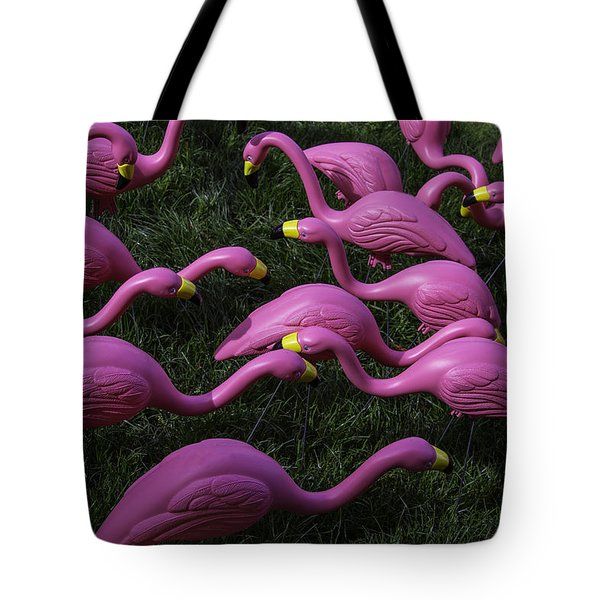 Flock Of  Plastic Flamingos Tote Bag by Garry Gay