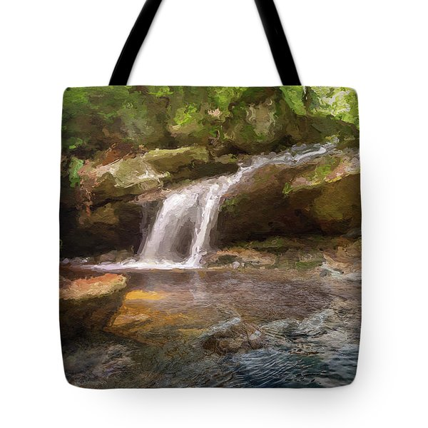Flooded Waterfall In The Forest Tote Bag