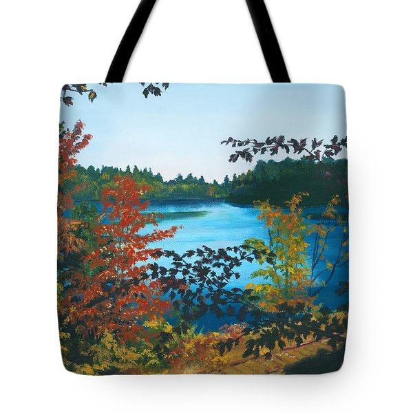 Tote Bag featuring the painting Floodwood by Lynne Reichhart