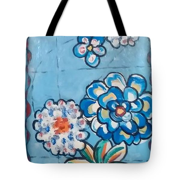 Floor Cloth Blue Flowers Tote Bag