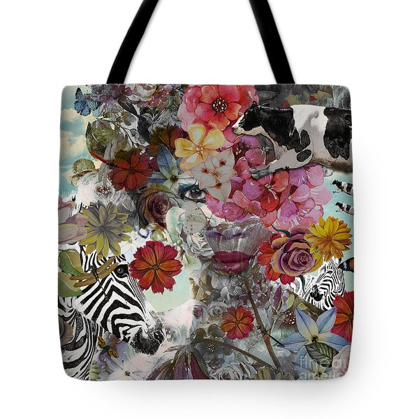 Tote Bag featuring the digital art Flora And Fauna by Nola Lee Kelsey