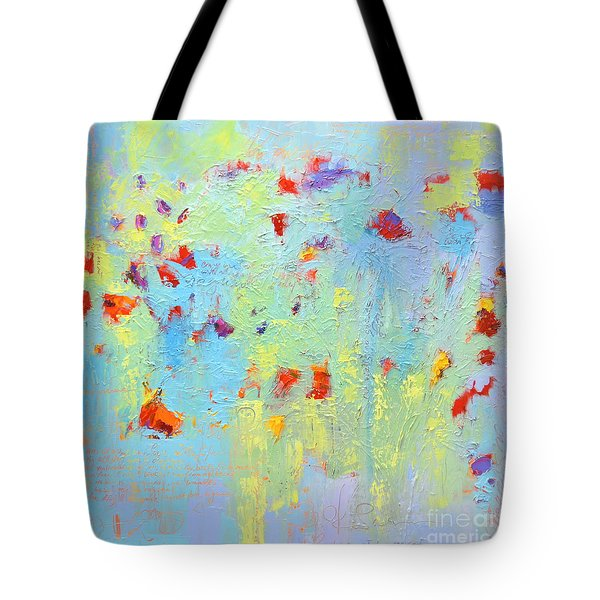 Tote Bag featuring the painting Floral Abstract Coloful Painting by Patricia Awapara