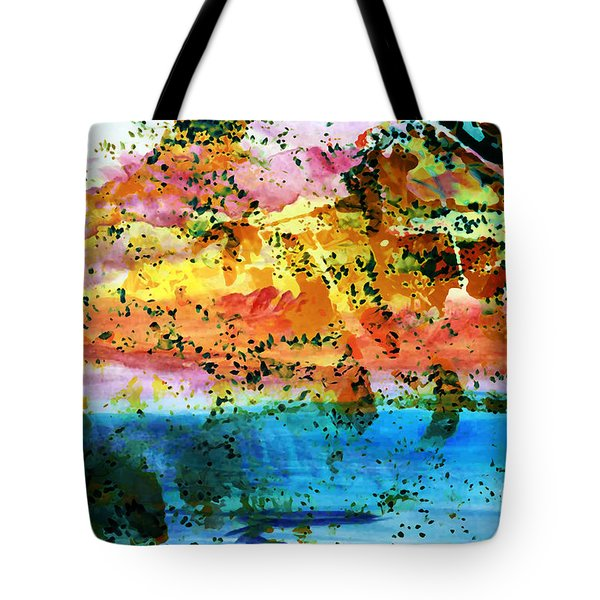 Tote Bag featuring the painting Rustic Landscape Abstract  D2131716 by Mas Art Studio