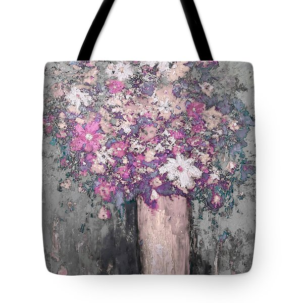Floral Abstract - Reverse - Modern Impressionist Palette Knife Work Tote Bag