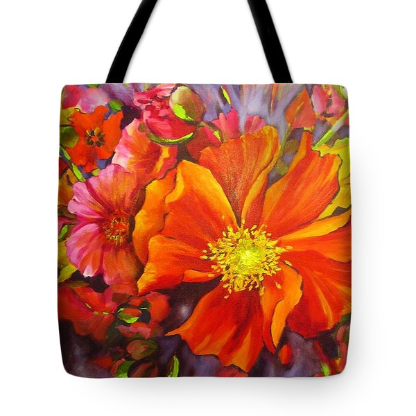 Tote Bag featuring the painting Floral Abundance by Chris Hobel