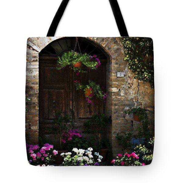 Floral Adorned Doorway Tote Bag