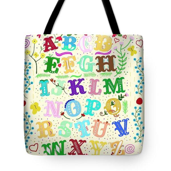 Floral Alphabet Tote Bag