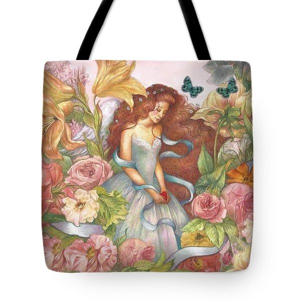 Floral Angel Glamorous Botanical Tote Bag