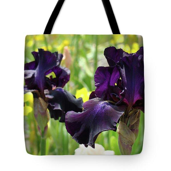 Floral Art Deep Purple Iris Flowers Irises Baslee Troutman Tote Bag by Baslee Troutman