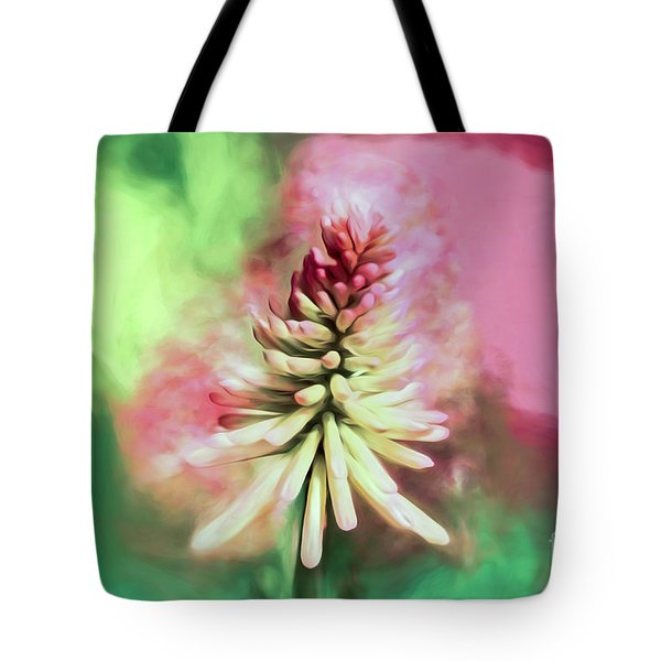 Tote Bag featuring the photograph Floral Art - Red Hot Poker by Kerri Farley