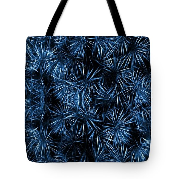 Floral Blue Abstract Tote Bag by David Dehner