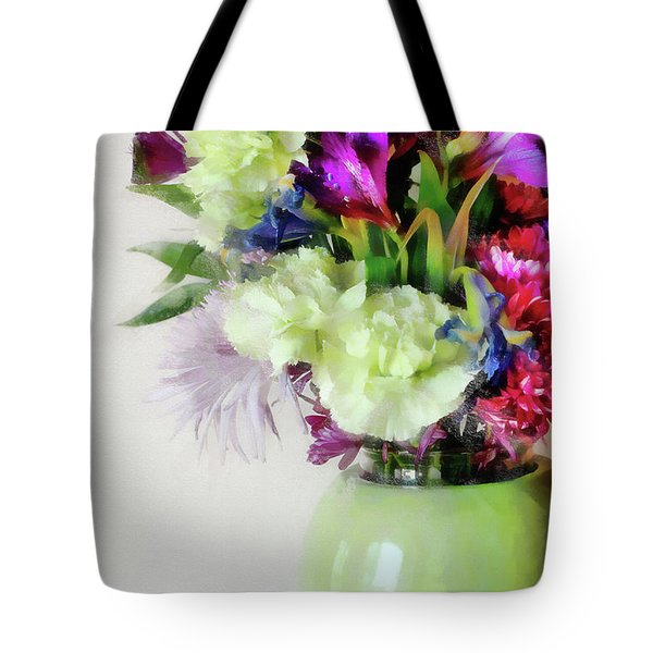 Floral Bouquet In Green Tote Bag