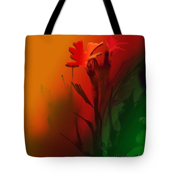 Tote Bag featuring the digital art Floral Fantasy by Asok Mukhopadhyay