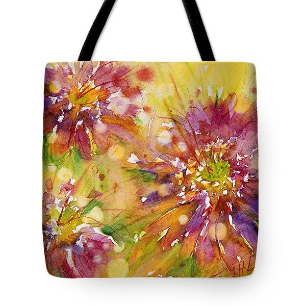 Floral Fireworks Tote Bag by Judith Levins