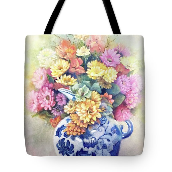 Tote Bag featuring the painting Floral Fusion by Marlene Book