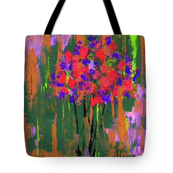 Tote Bag featuring the painting Floral Impresions by P J Lewis