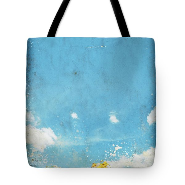Floral In Blue Sky And Cloud Tote Bag