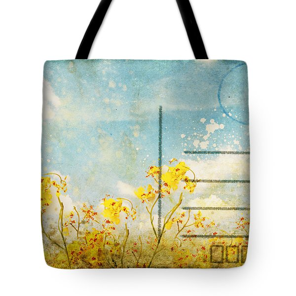 Floral In Blue Sky Postcard Tote Bag