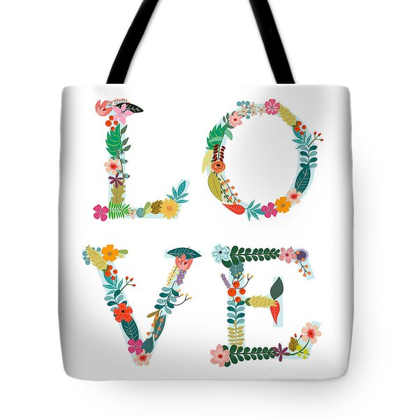 Floral Love Letters Tote Bag