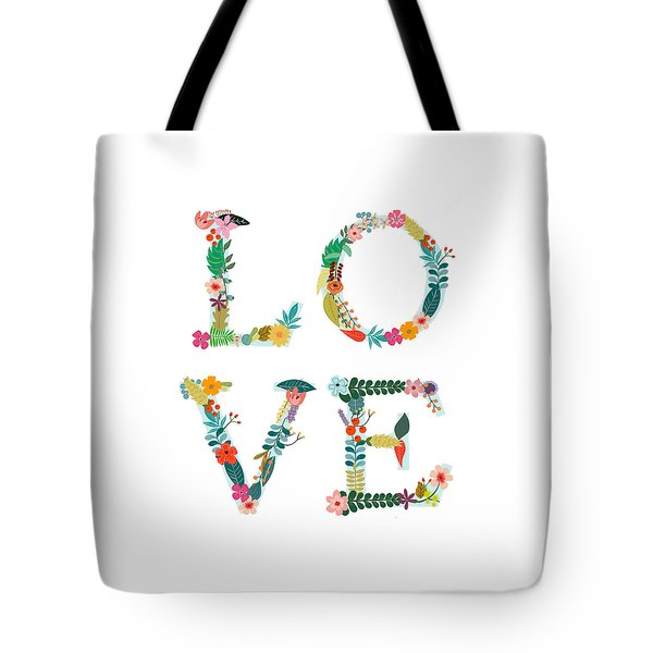 Floral Love Letters Tote Bag by Amanda Lakey