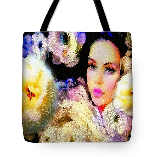 Floral Mosaic She In Thick Paint Tote Bag