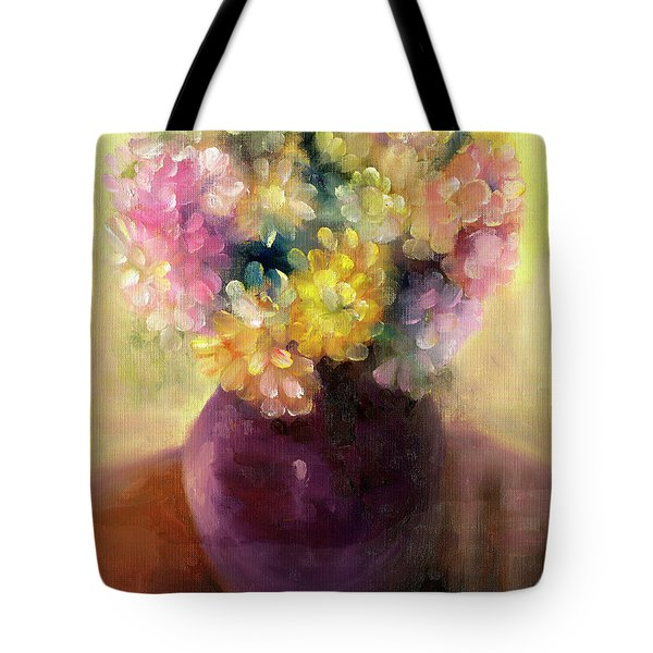 Tote Bag featuring the painting Floral Oil Sketch by Marlene Book