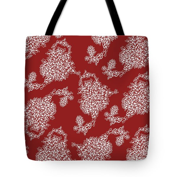 Floral Pattern In Red Tote Bag