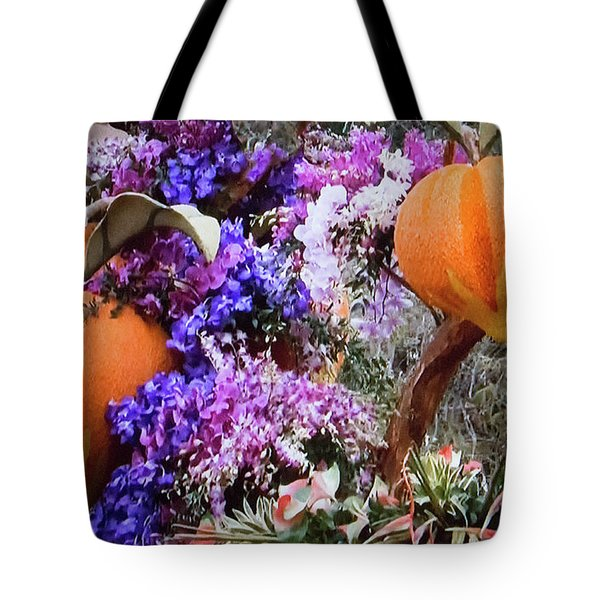 Tote Bag featuring the photograph Floral Peaches by Linda Phelps