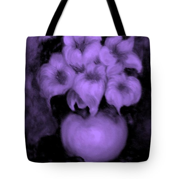 Floral Puffs In Purple Tote Bag