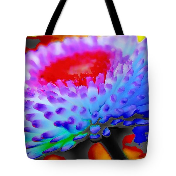Floral Rainbow Splattered In Thick Paint Tote Bag