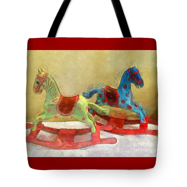Floral Rocking Horses Tote Bag