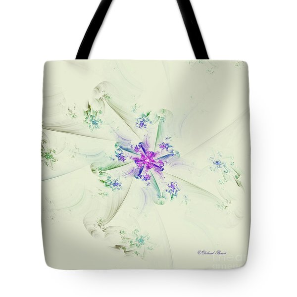 Tote Bag featuring the digital art Floral Spiral by Deborah Benoit