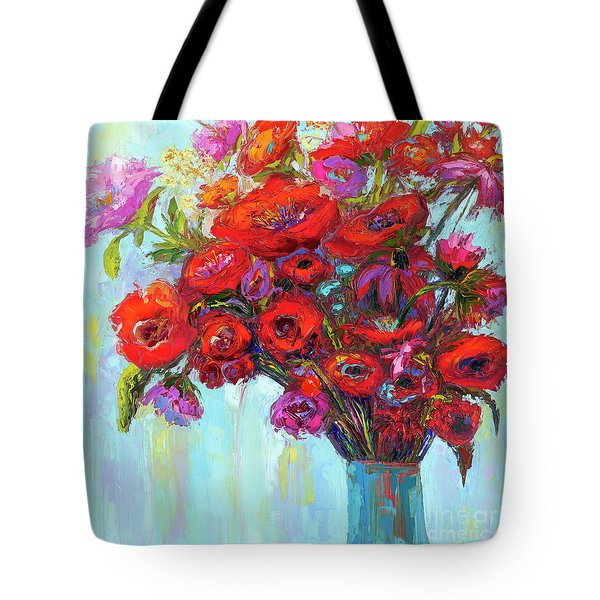 Tote Bag featuring the painting Red Poppies In A Vase, Summer Floral Bouquet, Impressionistic Art by Patricia Awapara