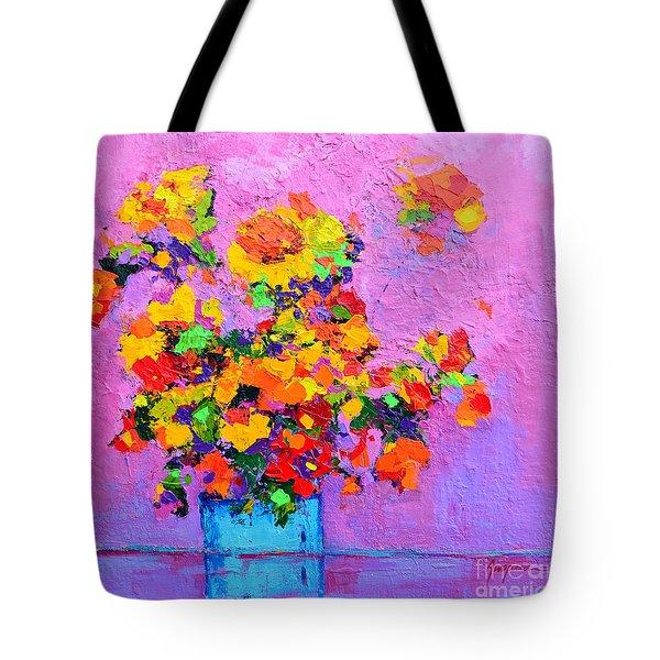 Floral Still Life - Flowers In A Vase Modern Impressionist Palette Knife Artwork Tote Bag