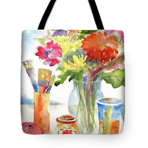 Floral Still Life Tote Bag by Pat Katz