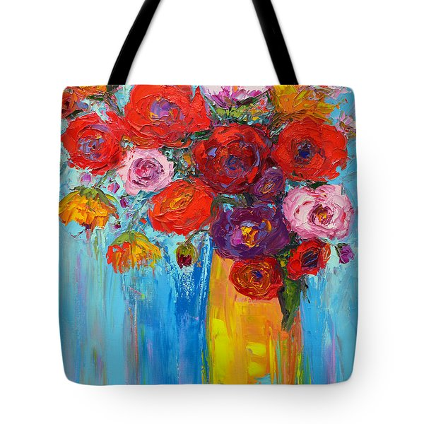 Tote Bag featuring the painting Wild Roses And Peonies, Original Impressionist Oil Painting by Patricia Awapara