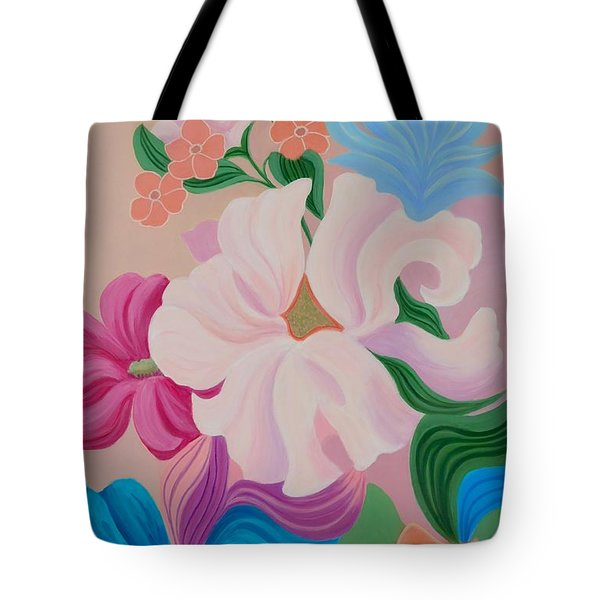 Tote Bag featuring the painting Floral Symphony by Irene Hurdle