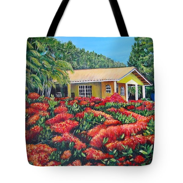 Floral Takeover Tote Bag by Marilyn McNish