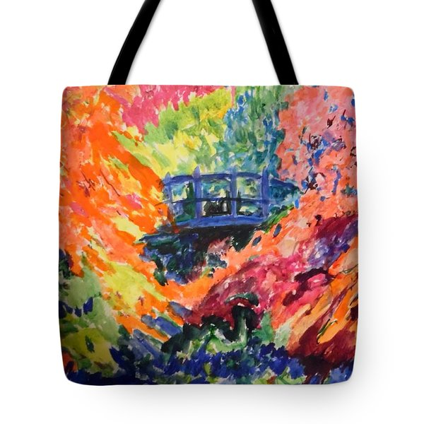 Floral View Of The Bridge Tote Bag by Esther Newman-Cohen