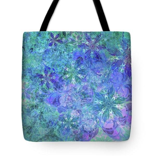 Floral Watercolor Blue Tote Bag