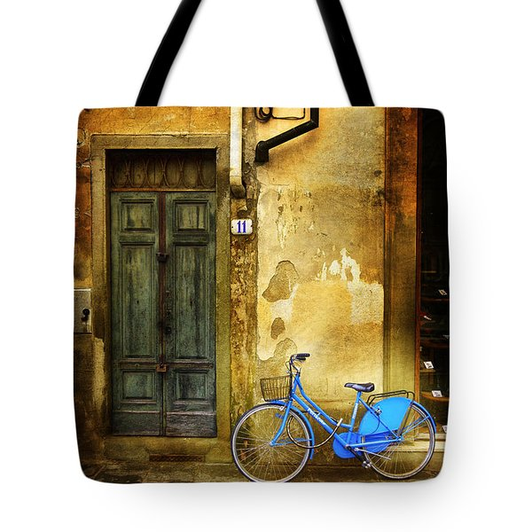 Florence Blue Bicycle Tote Bag