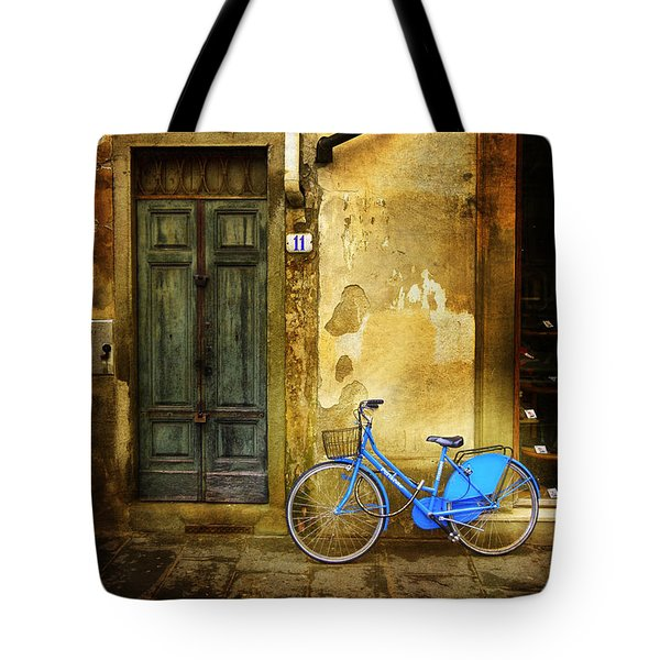 Florence Blue Bicycle Tote Bag by Craig J Satterlee