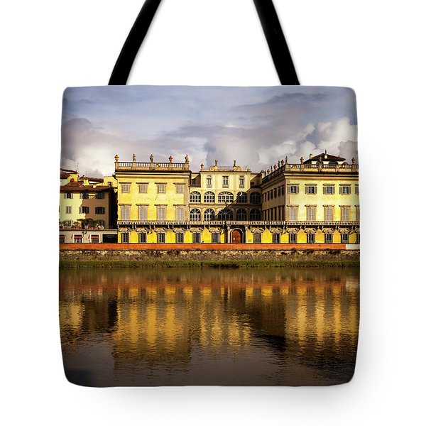 Tote Bag featuring the photograph Florence Reflections by Andrew Soundarajan
