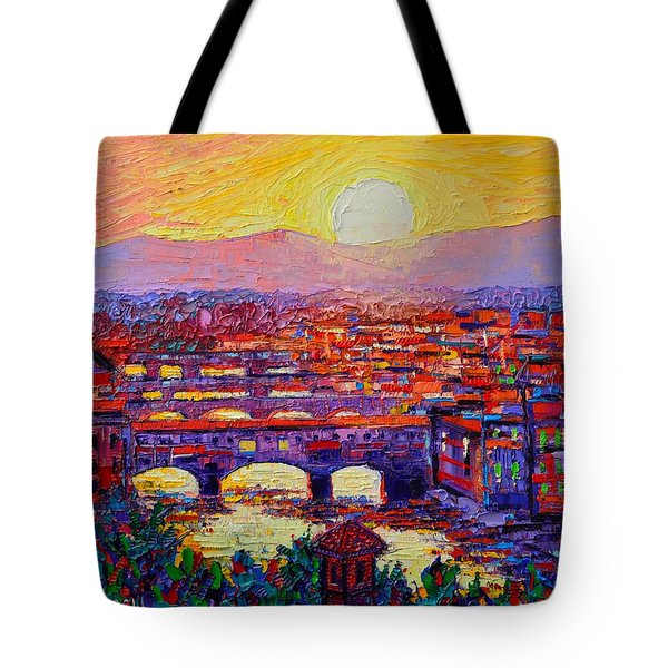 Florence Sunset Over Ponte Vecchio Abstract Impressionist Knife Oil Painting By Ana Maria Edulescu Tote Bag