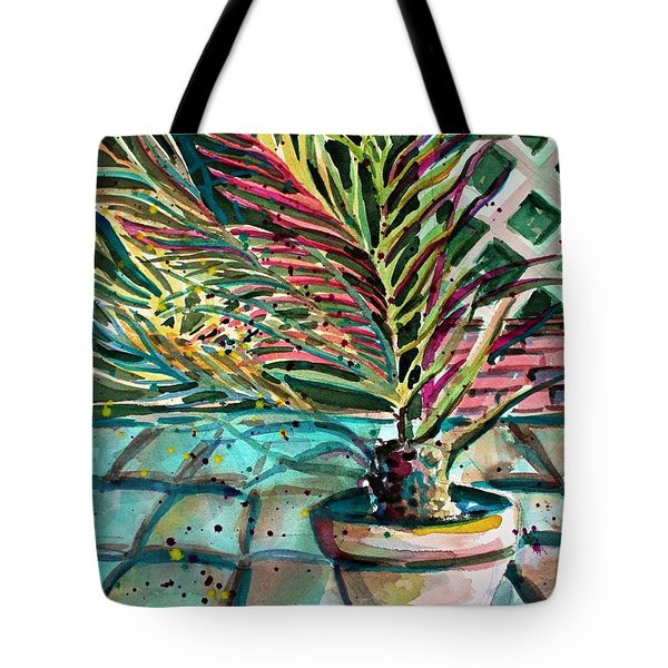 Tote Bag featuring the painting Florescent Palm by Mindy Newman