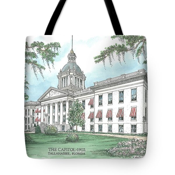 Florida Capitol 1902 Tote Bag by Audrey Peaty