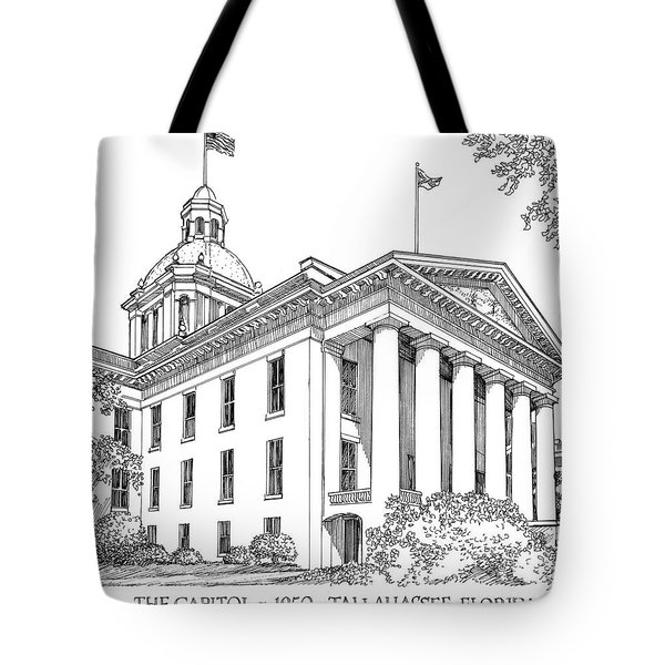 Florida Capitol 1950 Tote Bag by Audrey Peaty