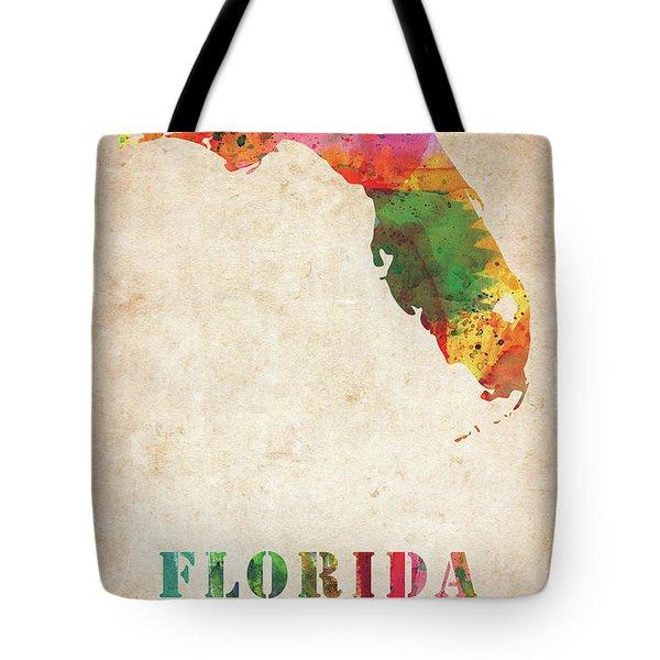 Florida Colorful Watercolor Map Tote Bag